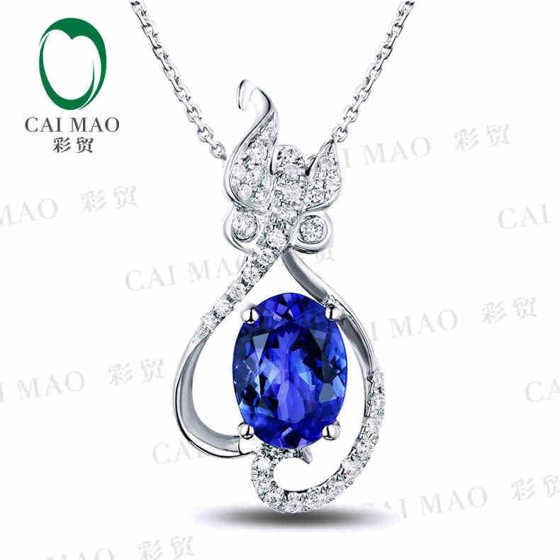 18KT/750 White Gold 1.21 ct Natural IF Blue Tanzanite AAA 0.17 ct Full Cut Diamond Engagement Gemstone Pendant Jewelry