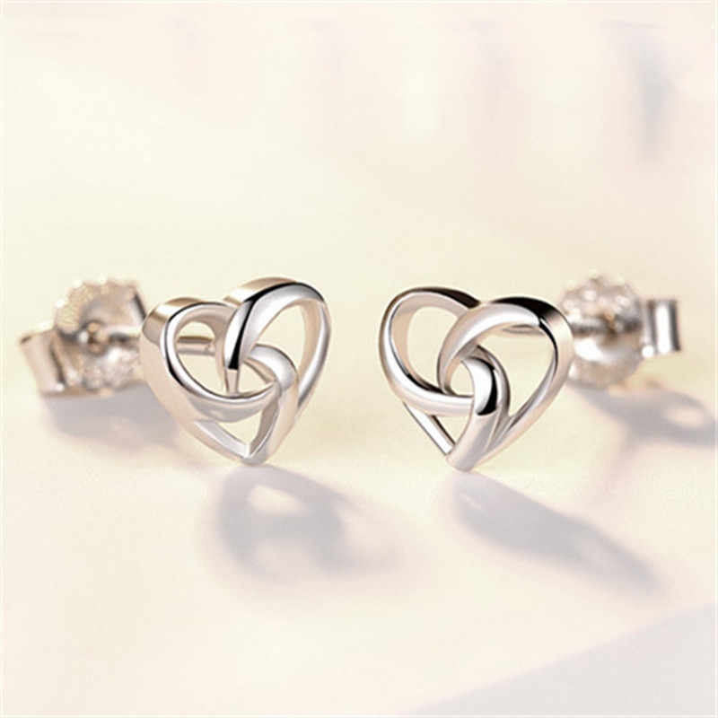 Fashion Jewelry Concise Sweet Heart All-match Stud Earring For Women Good Gift