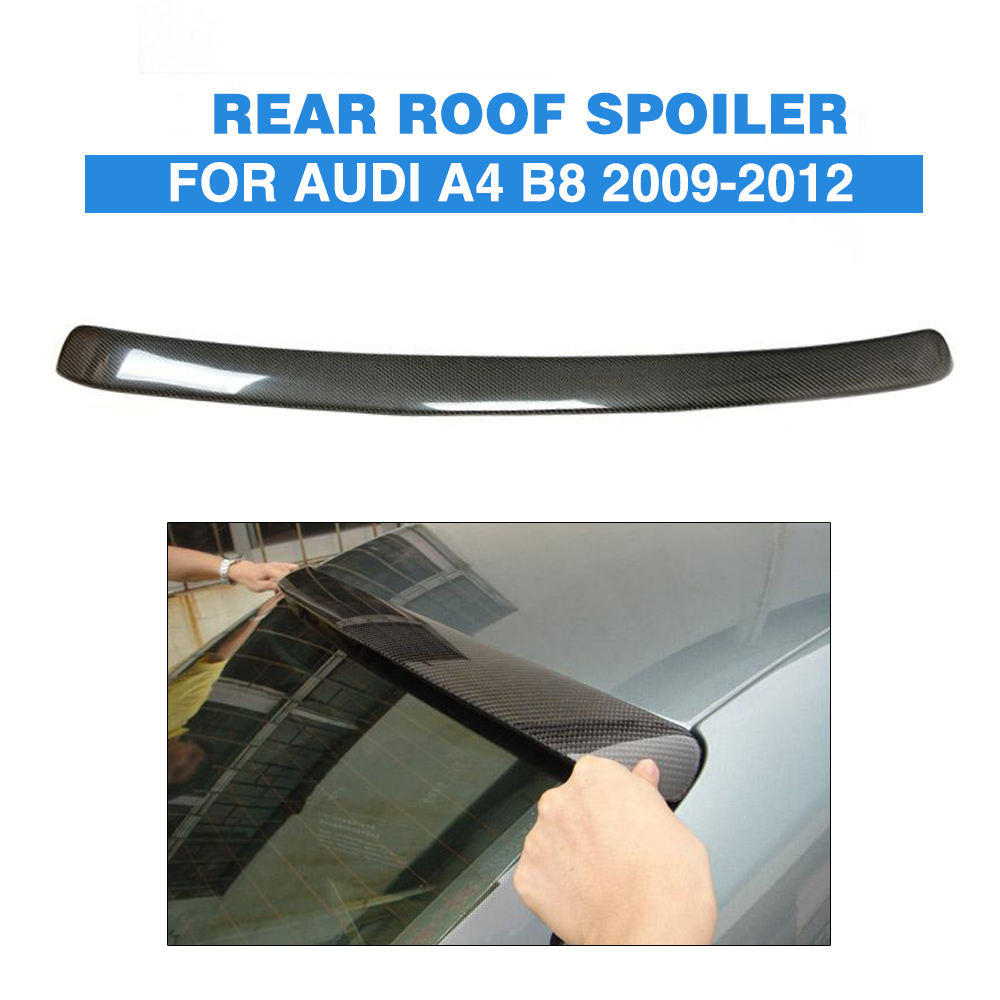 Carbon Fiber Rear Roof Spoiler Window Wing For Audi A4 B8 Saloon 2009-2012 A Style Car Tuning Parts yandex w205 amg style carbon fiber rear spoiler for benz w205 c200 c250 c300 c350 4door 2015 2016 2017