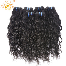 Sunlight Human Hair Brazilian Water Wave 100% Human Hair Weave Bundles Natural Hair Extensions 1B# Non Remy Hair 1pc Can Be Dyed