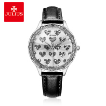 JULIUS Brand Lady Crystal Heart Romantic Watch for Valentine Gift Geneva Wristwatch Waterproof Hand Clock Luxury Watch JA-851