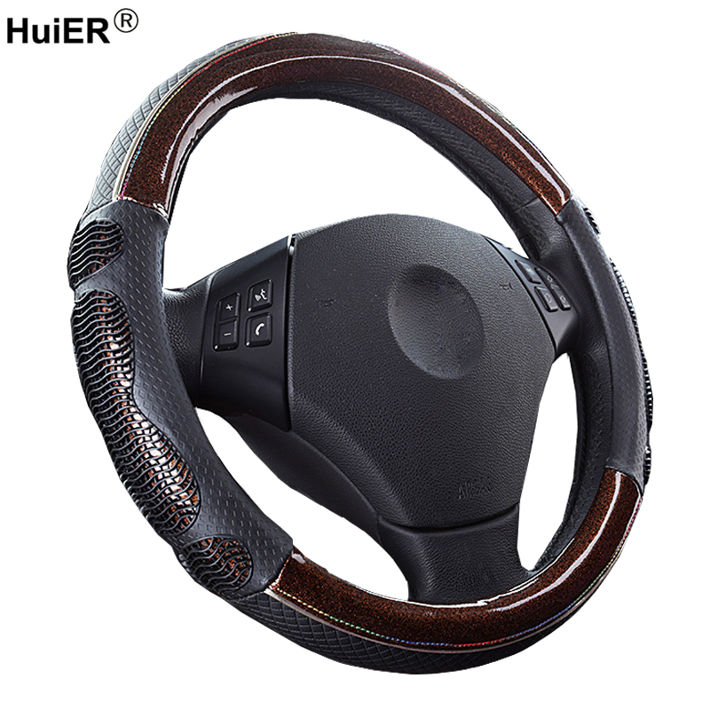 Microfiber Leather Car Steering Wheel Cover Breathable 38CM Car Styling Braid on The Steering-wheel Automotive Car Accessories free shipping car styling sew on genuine leather car steering wheel cover car accessories for 2015 2016 new ford mustang