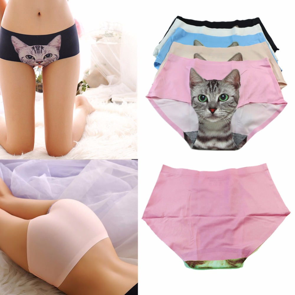 New Womens Seamless Briefs 3D Emptied Cat Printing Panties Underwear F05