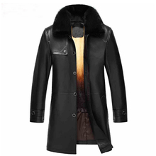 Ptslan Men's Leather Fur Jacket Mink Fur Liner Genuine Sheepskin Leather Clothing Mink Collar Luxury Male Coat