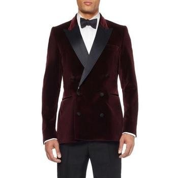 Double-Breasted Dark Red Velvet Groom Tuxedos Groomsmen Men's Wedding Prom Suits Bridegroom men suit (Jacket+Pants+bow Tie)