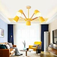 Lustre LED żyrandol do salonu światła wiszące nabłyszczania para sala de jantar abażur drewna jadalnia oprawy oświetleniowe w Wiszące lampki od Lampy i oświetlenie na