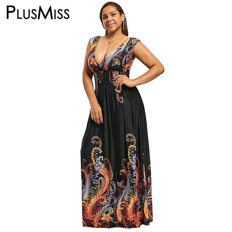 PlusMiss Plus Größe 7XL 6XL 5XL Ethnische Boho Paisley Feder Print Kleid Tiefe Plunge V Neck Sleeveless Maxi Lange Böhmischen kleider