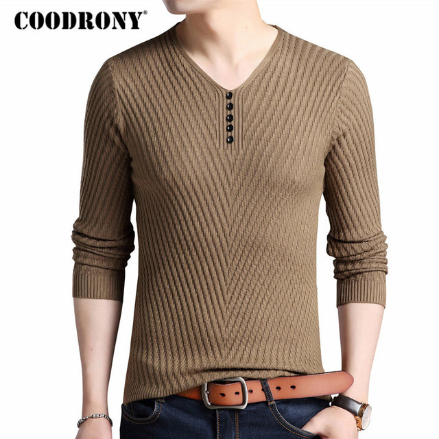 COODRONY Sweater Men Clothes 2018 Autumn Winter Thick Warm Sweaters Casual  Button V-Neck Pullover Men Slim Fit Jersey Hombre 118 d9552f398