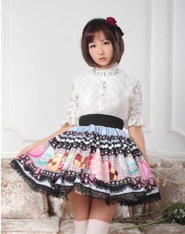 Sweet Original Design Cookies Printed Girl's Pleated Skirt Princess Lolita Lace Skirt for Women