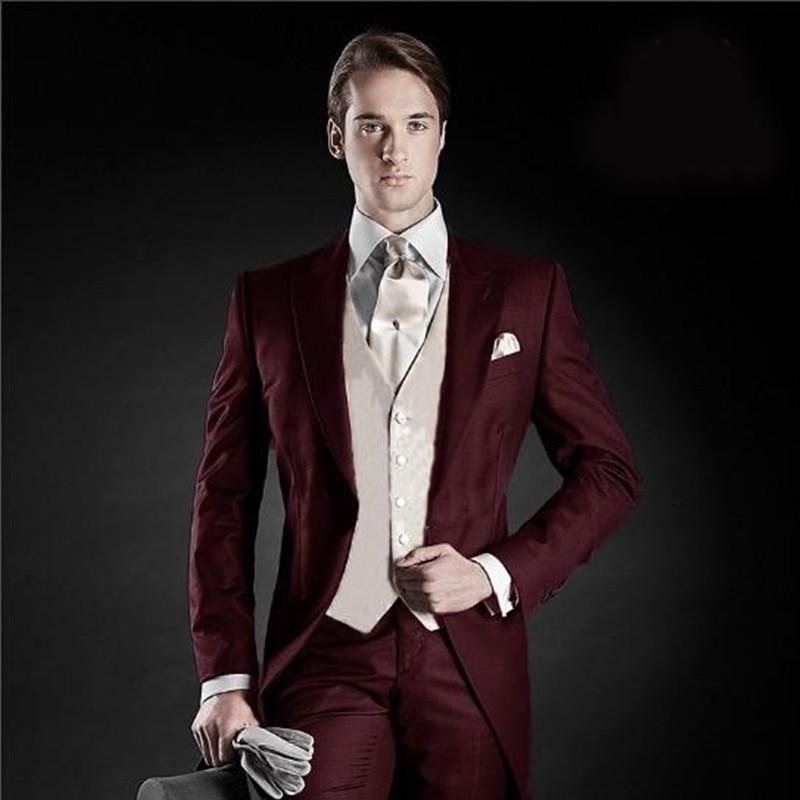 Мужской костюм с отворотом Morning Style, 5 шт., смокинги бордового цвета для свадьбы (пиджак + брюки + жилет)