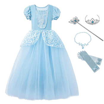 Girls Cinderella Dress up Cosplay Costumes Kids Puff Sleeve Embroidery Blue Clothes Child Christmas Birthday Princess 1