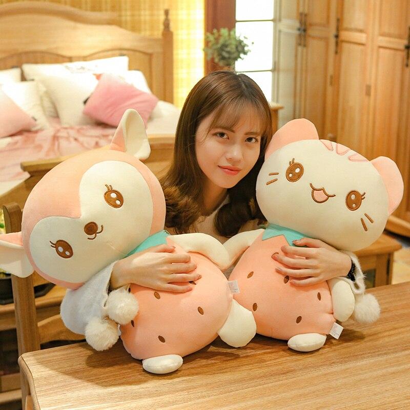Hot 1pc 23-50cm Kawaii Fruit Cat & Deer Plush Toys Stuffed Cute Animal Doll for Kids Baby Soft Cartoon Pillows Christmas Gift