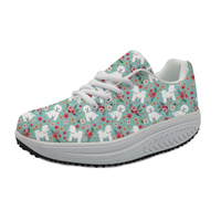 NOIDYDESIGNS Flat Shoes Bichon Frise Flower Cute Women Height Increasing Swing Slimming Shoes for Lady Casual Fitness Platform
