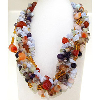 Multicolor Shell Pearls And Crystal Beads Necklace,6 Strands Chip Nugget Agates Amethysts Crystal Quartzs Women Necklace,19inch