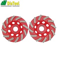 DIATOOL 2PCS 4.5/115MM Segmented Turbo Diamond Grinding Cup Wheel For Concrete And Masonry Material, Diamond Grinding Discs