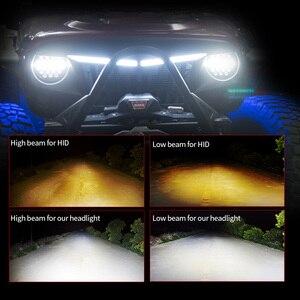 Image 3 - Светодиодный рабочий светильник MICTUNING, 2 шт., 7 дюймов, 80 Вт, ДХО, дневные ходовые огни, световой поток, янтарный сигнал поворота для J eep Wrangler
