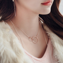 New 925 Sterling Silver Double circle Necklaces Pendant Fashion Sterling Silver Jewelry Statement for Women Bijoux peri sbox authentic 925 sterling sliver oval circle pendant necklaces for women simple geometrical chokers necklace statement
