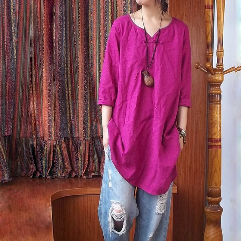 Rose Cotton Linen Women Blosues 2018 Summer Tops Blusas Long Shirt Ethnic Clothing Chinese Style Tops Chemise Femme Women Cloth