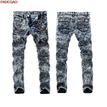 BOU 2016 men jeans washing grinding white snowflake bound feet Stitching feet pants trousers waist in trend