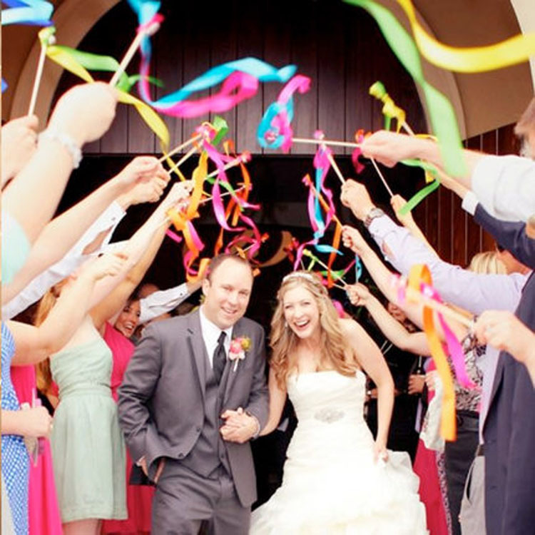 20pcslot wedding ribbon sticker wands magic colorful ribbon happy wedding twirling streamers with bells lace wedding props in event party from home