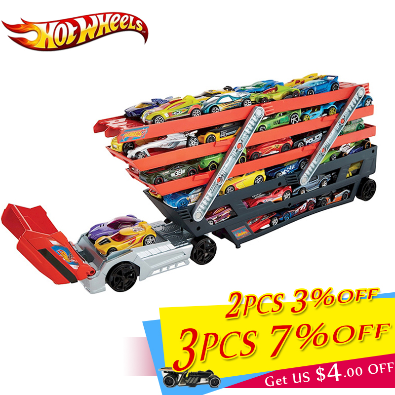 Hotwheels Truck Toy Storage Box Car Container Scalable Parking Floor Hot Wheels Transport Truck Toys Christmas's Day Gift CKC09