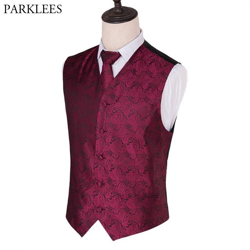 Mens 3 Piece Set Suit Vest Wine Red Paisley Jacquard Wedding Dress Waistcoat Neck Tie Pocket Square Singer Gilet Costume Homme