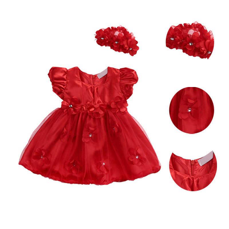 Summer Girls Dresses Newborn Flowers Lace Tutu Pure Princess Dresses + Hairbands Two Piece Children's Clothing