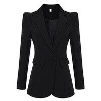 Hot Sale Fashion 2019 Designer Black Blazer Jacket Notched Women's Office Work Single Button Blazer Outwear Elegant Blazer