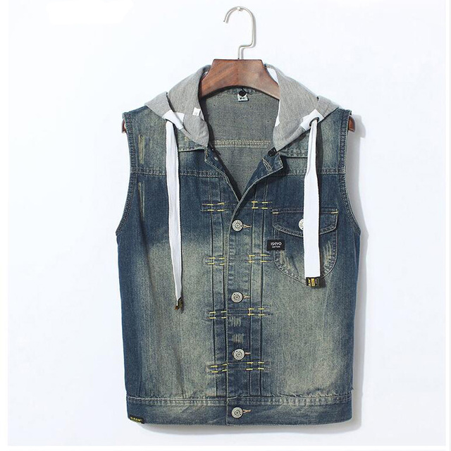 Spring Autumn Men Casual Hoodies Denim Vest Man Fashion Single Breasted Hat Detachable Denim Waistcoat All Match Denim Clothes