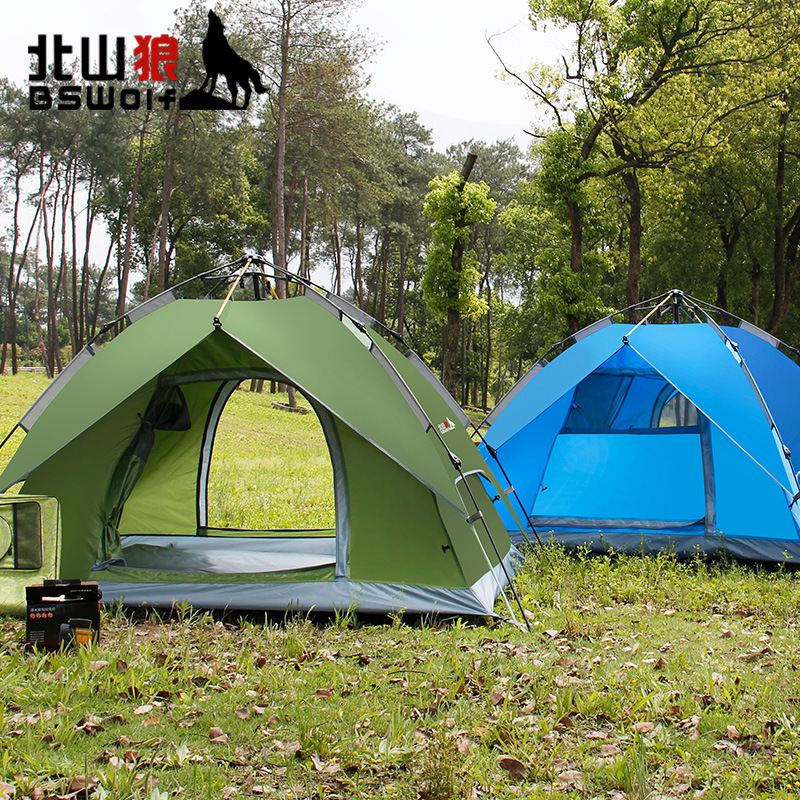 BSWolf 3-4persons outdoor camping, quick opening, fully automatic tent, double deck self driving camping glass rod tent 2&3use high quality outdoor 2 person camping tent double layer aluminum rod ultralight tent with snow skirt oneroad windsnow 2 plus
