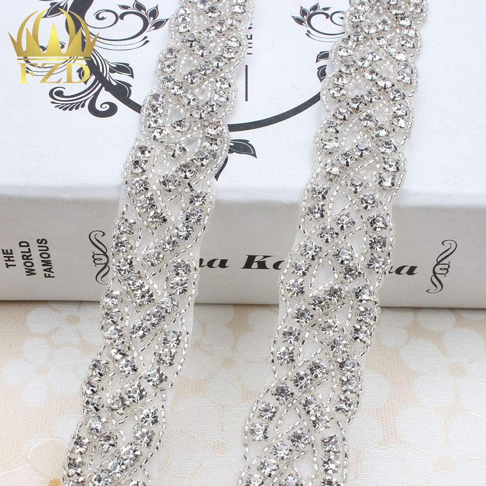 (10yards) Wholesale 1 Yard Sewing On Beaded Hot Fix Bling Applique  Rhinestone Trim for Wedding Dresses Bridal Garters Sash 85c8f4fcd246