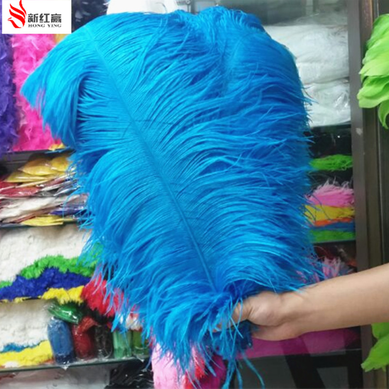 High quality 10PCS Thick pole ostrich feather lake blue ostrich plumage 55 60cm 22 24 inches