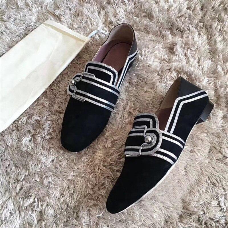 Chaussures 2 Lok Paresseux Nouveau Fu Carrée 1 De Correspondant Plat Buckl Automne Perle Un Usure Tête Simples Couleur Deux Ronde 2018 Pied Femmes qBtAwx