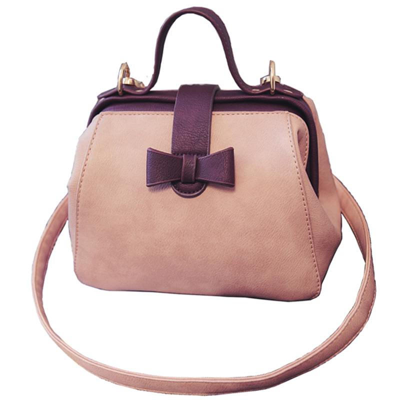 Women S Handbag Vintage Doctor Bag Leather Cute Bow Small Handbags Pink Shoulder Messenger Crossbody Tote Bolsa In Top Handle Bags From Luggage