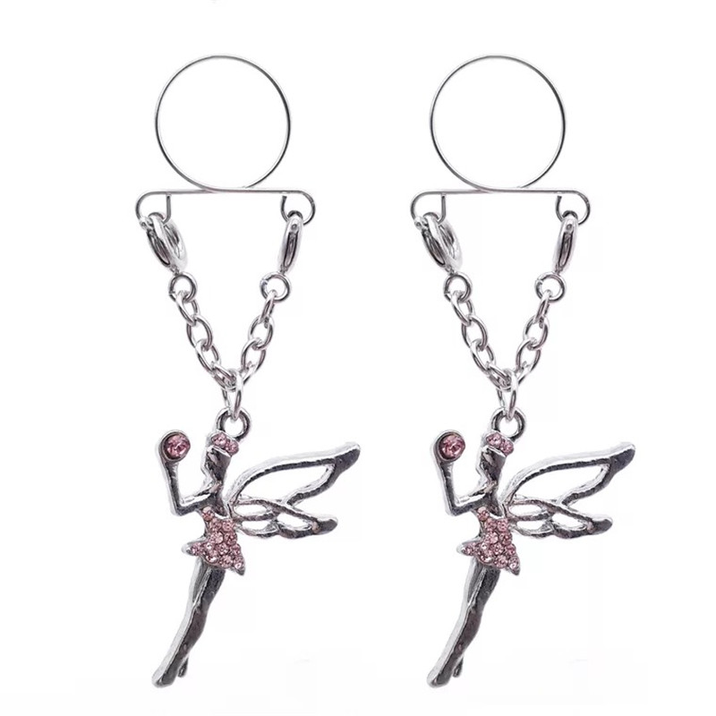 New Pink Blue Crystal Angel Fairy Non pierced Clip On Nipple Rings Fake Nipple Dangle Adjustable Women Sex Body Jewelry Gift