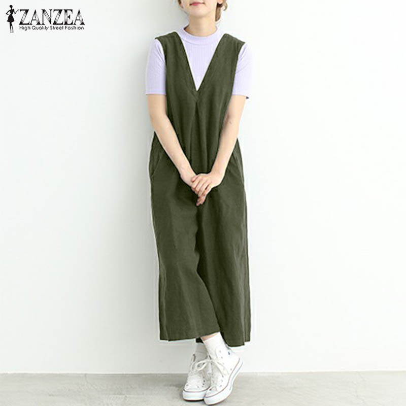 2018 ZANZEA Women Sleeveless V Neck Solid Jumpsuit Casual Loose Overalls Rompers Summer Wide Leg Pants Dungarees Plus Size