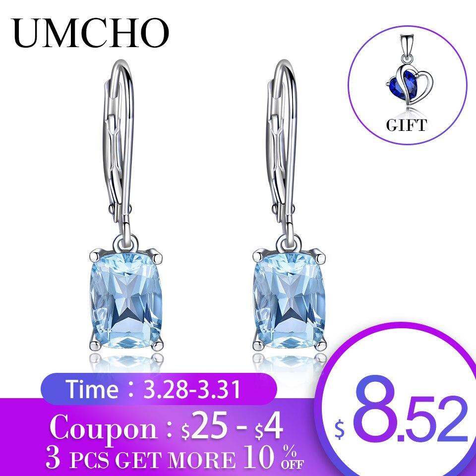 UMCHO Echtem 925 Sterling Silber Sky Blue Topas Tropfen Ohrringe Elegante Edelstein Hochzeit Engagement Schmuck Für Frauen Geschenke