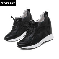 Zorssar 2018 New Fashion Flowers Genuine Leather Casual Womens Shoes Pumps Increased Internal Platform Shoes