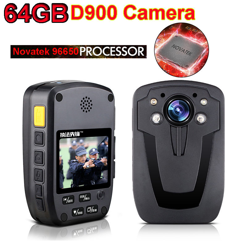 Free Shipping!64GB D900 Top NTK96650 Chip Full HD 1080P Body Worn Personal Security &Police Camera Night Vision Camera