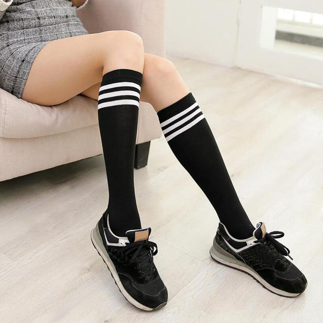 1e961f4abd9 Girls Boys Knee High Socks Football Stripes Cotton School Soccer Boots  Female Sport Long Leg Socks