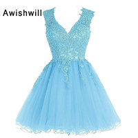 Cheap Homecoming Dresses for Juniors 2019 V neck Open Back Lace Tulle Short Graduation Dress Party Gowns