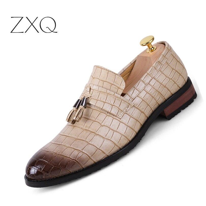 2018 Neu Männer Vintage Leder Müßiggänger Krokodil Muster Männer Kleid Schuhe Oxfords Hochzeit Party Bussiness Schuhe Mann Größe 47