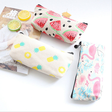 1X Kawaii Fruit canvas Pencil Case Canvas School Supplies Stationery Estuches office Pen Bags Cute Storage bag