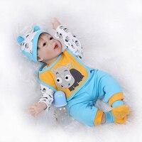 Bebes reborn menino 22 55 см мягкие силиконовые возрождается куклы Малыши мальчики игрушки для девочек детский подарок в синий костюм коровы настояща
