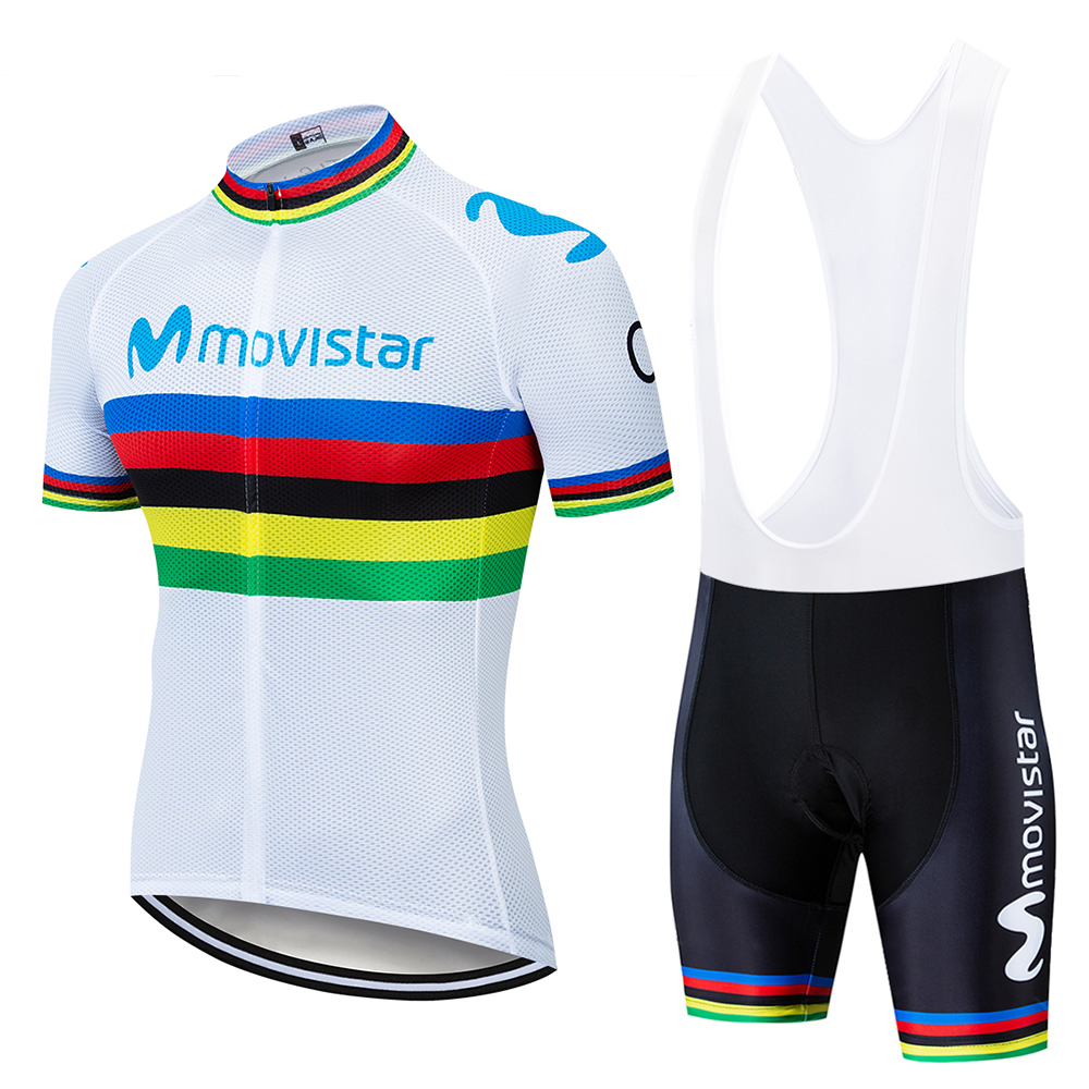 2019 movistar UCI Color strip Edition TOUR EUROPA team Custom top Bike Shorts Set Quick Dry Rope For Mens Pro Cycling Culotte