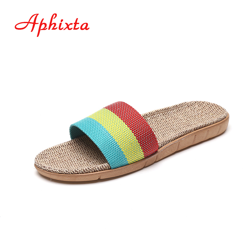Aphixta Colorful Flax Striped Linen Slipper Hemp Floor Shoes Lover Soft Breathable Indoor Slippers Men Women Shoes Bedroom Flats new sale linen slipper lover summer style floor nonslip breathable indoor slippers women shoes flax striped bedroom shoes