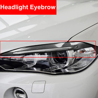 2PCS Carbon Fiber Car Headlight Eyebrows Cover Decoration Stickers Trim Decals Automobile Accessories For BMW F15 X5 2014 2017