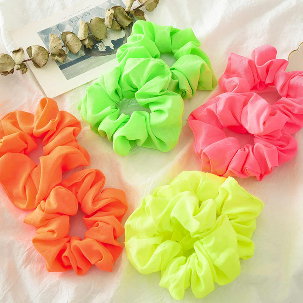 New arrival Fashion women lovely satin Hair bands Fluorescent color hair scrunchies girl's hair Tie Accessories Ponytail Holder