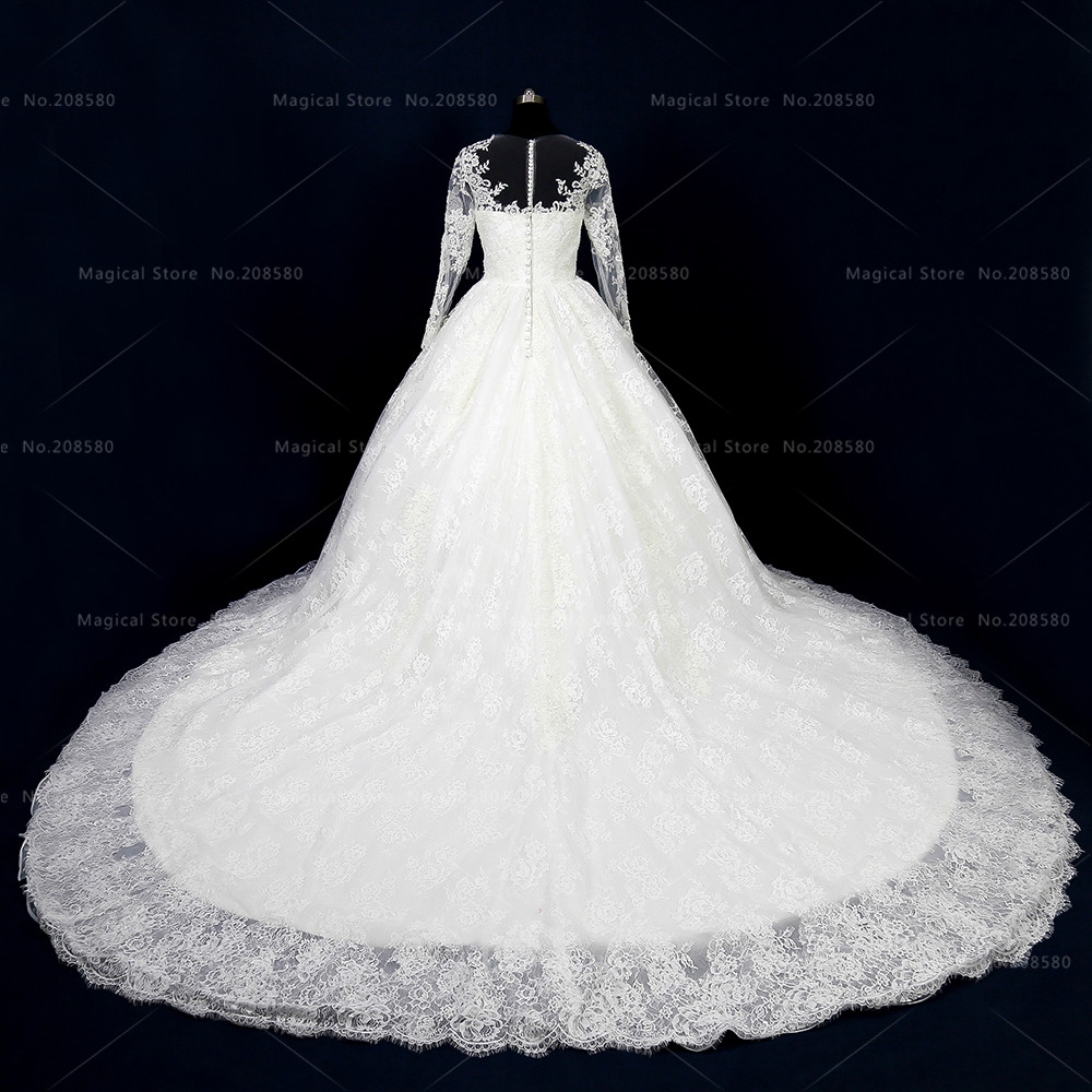 Arabischen Spitze Brautkleid Langarm Ballkleid Vestido novia Langen ...