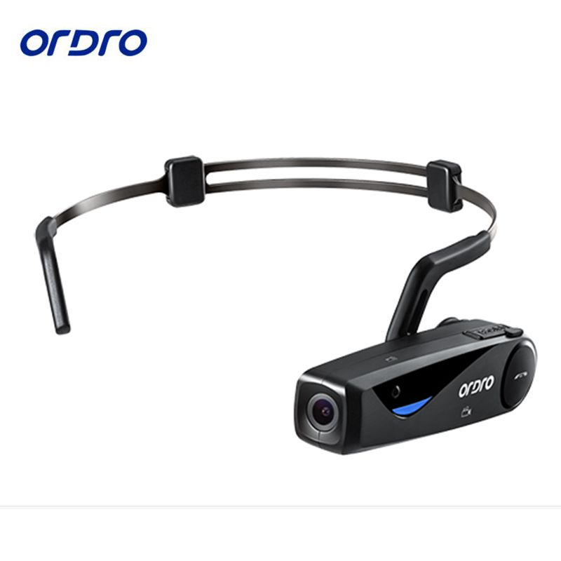 Conduction osseuse ORDRO EP5 Bluetooth 4. 0 Main Libre Tête bande Action Mini DV Caméra Caméscopes Grand Public avec des écouteurs WiFi livraison